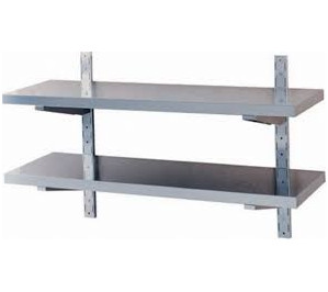 ETAGERE LG.1400 INOX DOUBLE SUR CREMAILLERE