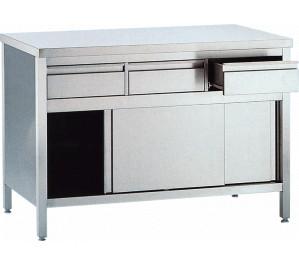 Table 1400x600 dessous ferme avec bloc tirroirs et portes coulissantes