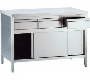 Table 1000x700 dessous ferme avec bloc tirroirs et portes coulissantes