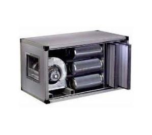 Caisson à charbons actifs motorisé débit:3000m3/h. 9 cylindres (cap 15kg).hst:15.