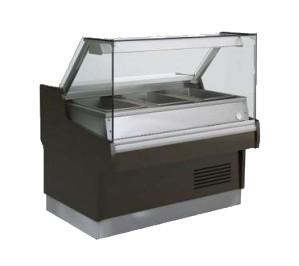 Vitrine chaude bain-marie Long.1304 Ravel - vitre bombée - 3 x GN 1/1