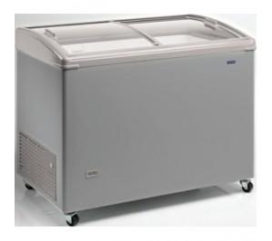 """Congélateur 310 litres couvercle bombé coulissant """"vitré"""" aspect inox"""