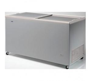 Congélateur 470 litres couvercle coulissant «opaque» aspect inox
