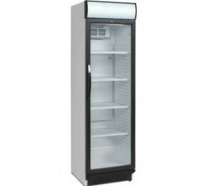 Armoire réfrigérée 1 porte vitrée bandeau lumineux laque blanc - 374 litres