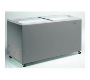 Congélateur 470 litres couvercle coulissant «vitrée» aspect inox