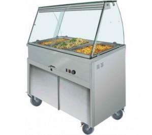 Bain marie / vitrine chauffante - bmc180 - placard neutre - 5 bac GN 1/1 - 1800x700x1350
