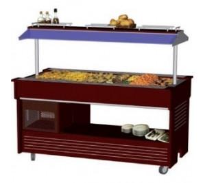 Buffet chauffant central mobile - 4 bacs - avec 30° avec 90°c - materiel professionnel