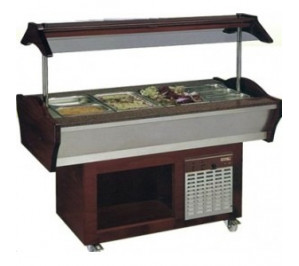Buffet mixte central mobile froid & chaud - 6 bacs - avec 30° avec 90°c