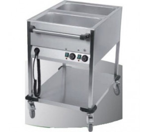 CHARIOT MOBILE BAIN MARIE - 2 CUVES GN 1/1
