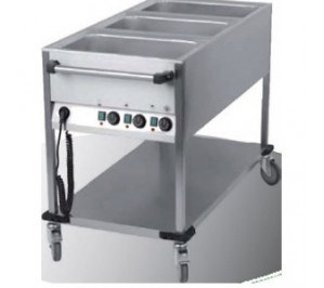 CHARIOT MOBILE BAIN MARIE - 3 CUVES GN 1/1