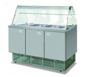 Saladette dessus vitre - 3 portes - 4 x GN1/1 - 315 litres - materiel professionnel