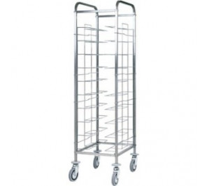 Chariot mobile inox - Acier inoxydable - 10 plateaux universels