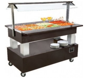 Buffet chauffant central mobile 4 bacs GN 1/1