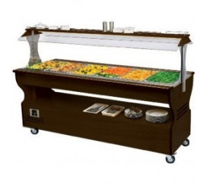 Buffet mixte chaud et froid central mobile 6 GN1/1