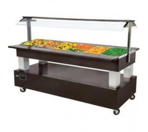 Buffet réfrigéré central mobile - 6 x GN 1/1 avec 0° avec 10°c - 2070x740/950x1370mm