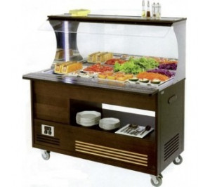 Buffet mural mixte froid et chaud 4 bacs GN1/1