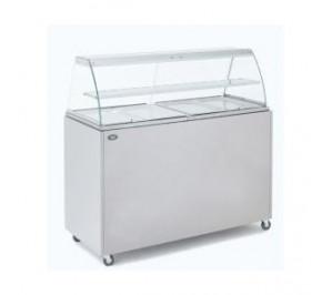 Vitrine chaude / bain marie 4 x GN 1/1 avec meuble de soubassement