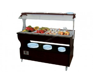 Buffet mixte chaud et froid central mobile 4 GN1/1