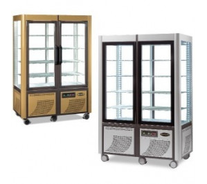 Vitrine double 4 faces vitrées version gold fixe & fixe froid negatif