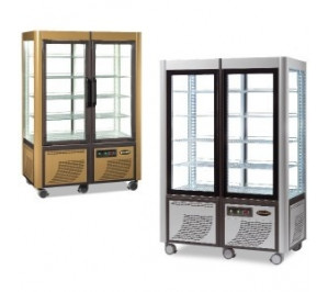 Vitrine double 4 faces vitrées version gold fixe & rotative froid positif