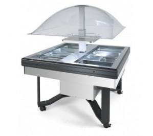 Buffet réfrigéré central en inox avec fermeture automatique - positif : avec 3 / avec 10°c - 1490x1490x1700 mm - scaiola