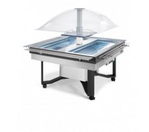Buffet réfrigéré central en inox avec fermeture automatique et étagère - positif : avec 3 / avec 10°c - 1490x1490x1700 mm
