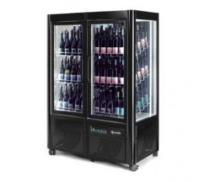 Cave à vin porte vitrée - capacité : 180 bouteilles - avec 4° / avec 15°c - 700x1260x1840mm - enoteca 800 - scaiola