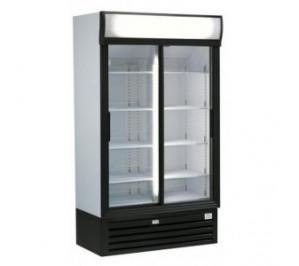 Armoire vitrine réfrigérée à boissons & produits frais - 770 litres - double portes coulissantes