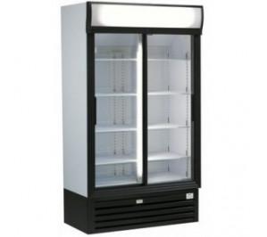 Armoire vitrine réfrigérée à boissons & produits frais - 945 litres - double portes coulissantes