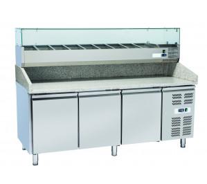 """Table à pizza 3 portes réfrigérées - avec plan de travail en granit - """"euronorm"""" 400 x 600 avec kit réfrigéré inclus"""