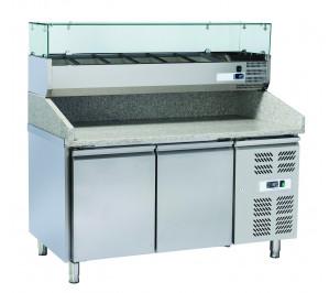 """Table à pizza 2 portes réfrigérées - plan de travail en granit - """"euronorm"""" 400 x 600 avec kit réfrigéré inclus"""