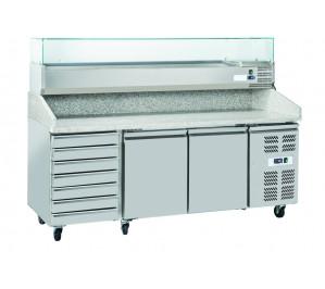 Table à pizza 2 portes réfrigérées avec 5 tiroirs neutres - avec plan de travail en granit avec kit réfrigéré inclus