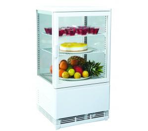 Vitrine de comptoir réfrigérée 4 faces vitrées blanche - 60 litres