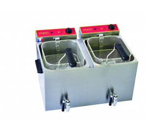 Friteuse 2 x 8 litres avec robinet de vidange - électrique