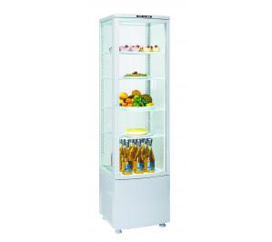 Vitrine de comptoir réfrigérée ventilée 4 faces vitrées blanche