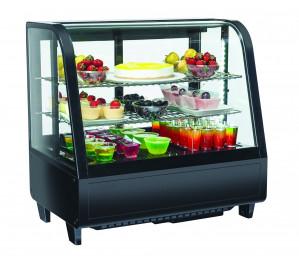 Vitrine de comptoir réfrigérée noire - 100 litres