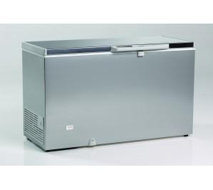 Congélateur 600 litres couvercle dessus inox porte pleine aspect inox