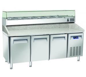"""Table à pizzas dessus granit """" portes 400x600 avec kit supérieur réfrigéré cap.10 bacs GN1/4"""