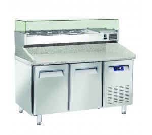 Table à pizzas dessus granit 2 portes 400x600 avec kit supérieur réfrigéré cap.7 bacs GN1/4