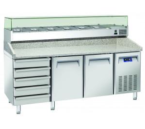 Table à pizzas dessus granit 2 portes 400x600 et 5 tiroirs avec kit supérieur réfrigéré cap.7 bacs GN1/4