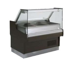 Vitrine réfrigérée Long..1300 modèle Ravel - avec incorporation saladette ventilée 3 x GN 1/1 - vitre droite