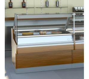 Vitrine modèle Ravel Long..1300 avec plaque chauffante vitro intégrée
