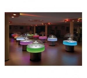 Buffet réfrigéré central rond avec changement de couleurs avec tablette de services