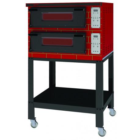 Four à pizza 2 x 4 pizzas ø 36 professionel - digital - électrique - 2 chambres 720 x720 entierement refractaire