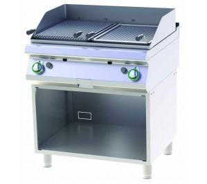 Grill à pierre de lave gaz double sur placard ouvert