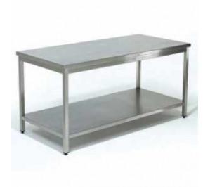 """Table inox dim: 2000x600 """" soudée """"ouverte centrale avec étagère basse"""