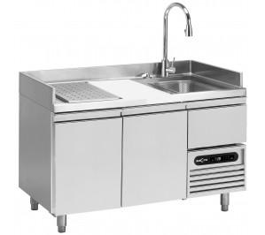 Table réfrigérée de préparation / poissons 2 portes GN 1/1 - 2° +8°c - dessus bac de lavage