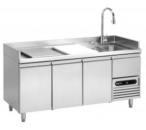 Table réfrigérée de préparation / poissons 3 portes GN 1/1 - 2° +8°c-dessus poste de lavage