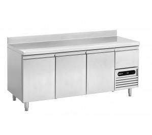 Table pâtissière 3 portes - avec dosseret - dessus inox
