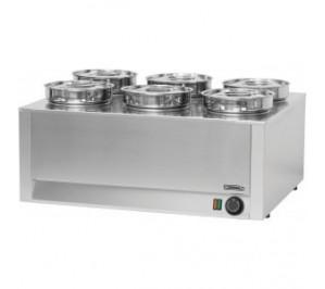 Bain marie à sauce 6 cuves - 1200 w / 230 v - l 750 x p 600 x h 350 mm - cbms6